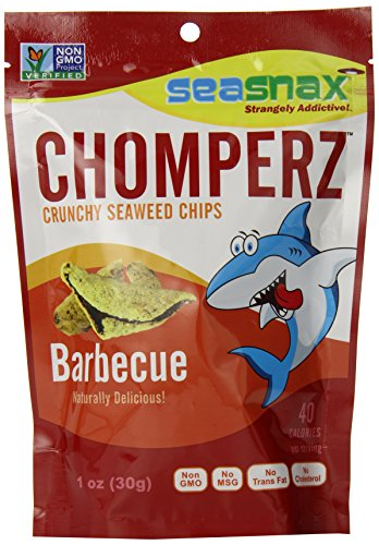 SeaSnax Chomperz Crunchy Seaweed Chips, Barbecue, 1 Ounce