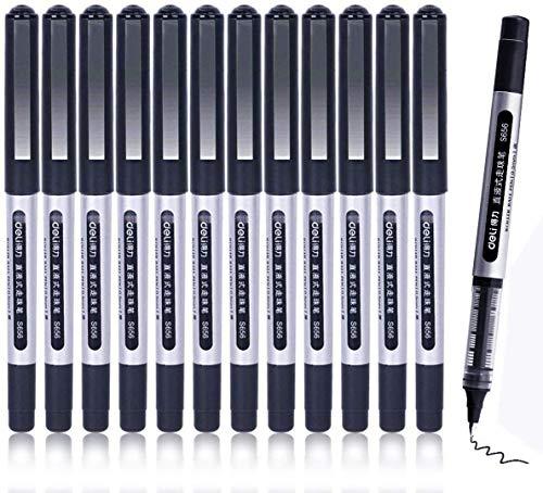 Bolígrafos Rollerball, GXR Bolígrafos 12 PCS 0.5mm de Punta Extra Fna, Bolígrafos de Secado Rápido de Tinta, Bolígrafo de Tinta Líquida Negra para Oficina, Hogar, Empresa, Escuela-Negro