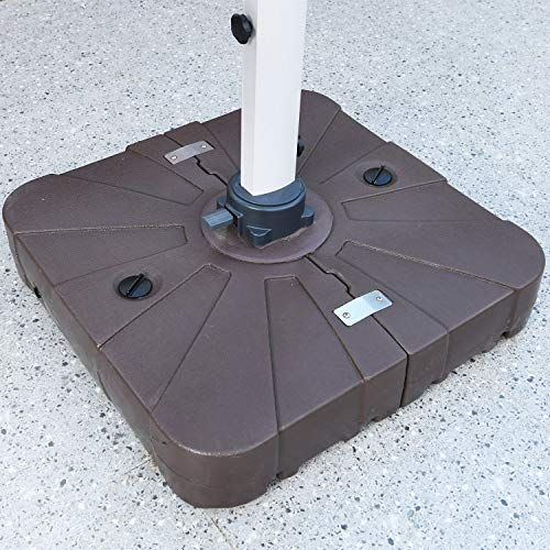 LKINBO Offset Patio Umbrella Weighted Base - Heavy Duty Patio Umbrella Base Stand Square Outdoor Umbrella Base Water & Sand Filled Cantilever Umbrella Base Stand with Wheels