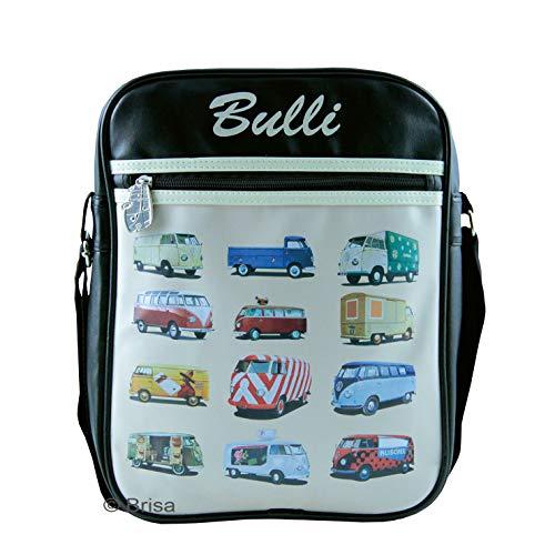 BRISA VW Collection - Stylishe & coole Volkswagen Retro/Vintage Schulter-Umhänge-Reise-Tasche im VW T1 Bulli Bus Design (Schwarz mit bunten Bullis/Kunstleder)