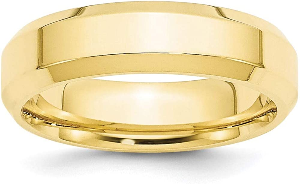 10k Yellow Gold 6mm Bevel Edge Comfort Fit Wedding Ring Band Size 8 Classic Beveled Fine Jewelry For Women Gifts For Her