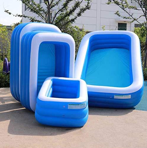 OKOUNOKO Fast Set Pool, Gartenpool selbstaufbauend mit aufblasbarem Luftring rund im Komplett Set, Inflator, Blau und Weiß-210x140x65cm DREI Schichten