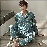 ZHANG Pijamas para Hombre, Pijamas para Hombre de Seda Suelta de Gran Tamaño Floral para Servicio a Domicilio Primavera, Ropa de Verano y Otoño Suave,Green-Xlarge