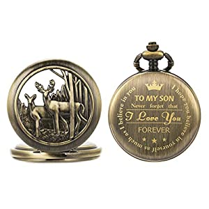 SIBOSUN Personalized Pocket Watch Engraved Back Case Birthday Men To My Son Deer Reindeer Quartz