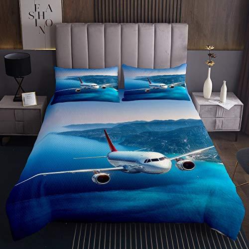 Flugzeug Bettüberwurf für Kinder Fliegen Flugzeug Druck Steppdecke Blau Mountain Landschaft Tagesdecke 170x210cm Raumdekor Reise Wohndecke 2St