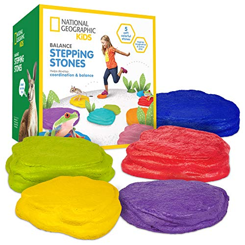 NATIONAL GEOGRAPHIC Balance Stepping Stones - Early Learning & Development for Kids with 5 Soft Stones