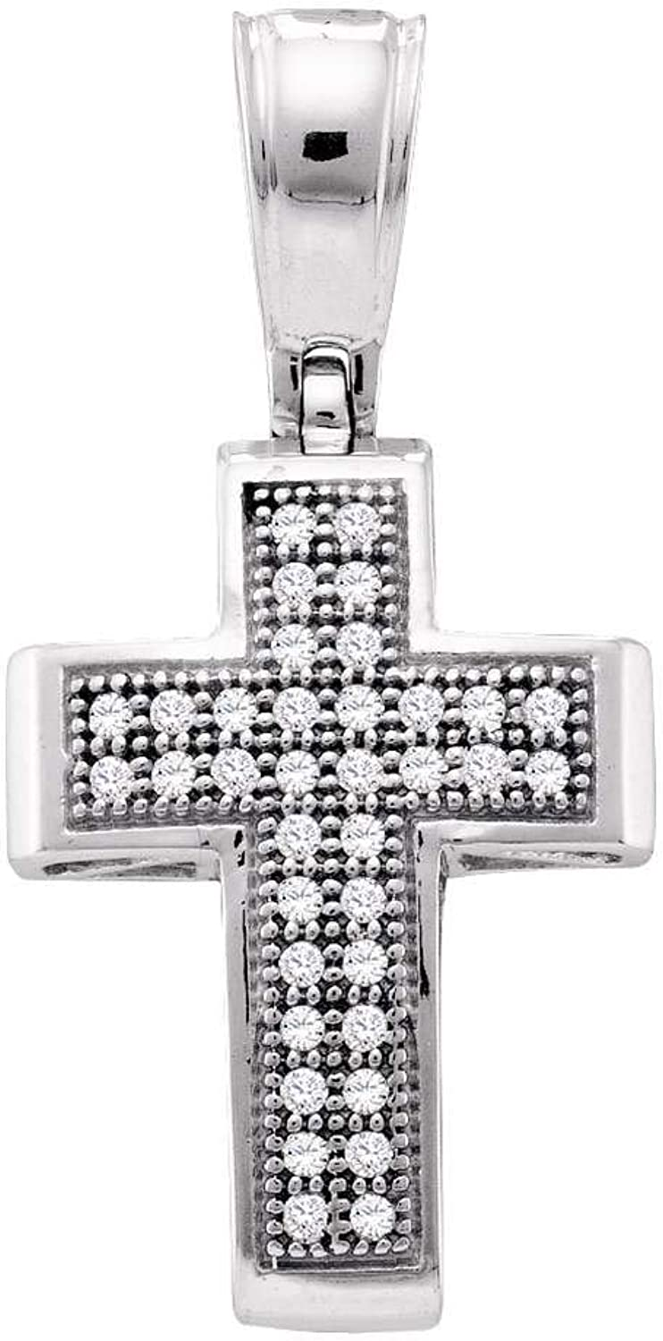 10kt White gold Womens Round Diamond Small Cross Pendant 1 10 Cttw