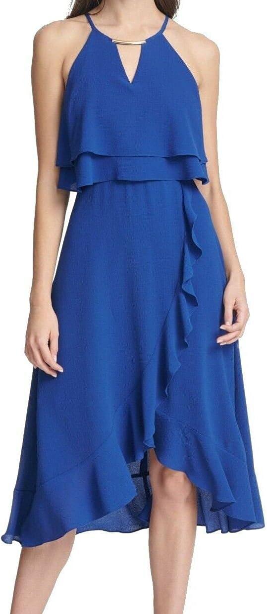kensie Women's Ruffled Popover Dress Cobalt Blue 0