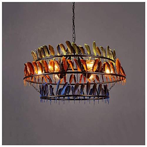 Loft Bar-hanglamp met veren, in gothic-stijl, vintage, creatieve verlichting van metalen lampenkap E27 voor eetkamer, keuken, woonkamer, slaapkamer Oro rosa + oro rosa