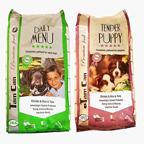 JLN 3KG + 3KG: PIENSO para Perros Gama Mantenimiento (Pollo, arroz y atún) y Gama Cachorros Premium