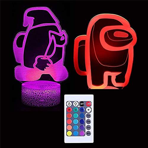 Lámpara de ilusión 3D, Among Us 3D Luz de noche para niños 16 colores que cambian con control remoto, regalo de cumpleaños para niños y niñas