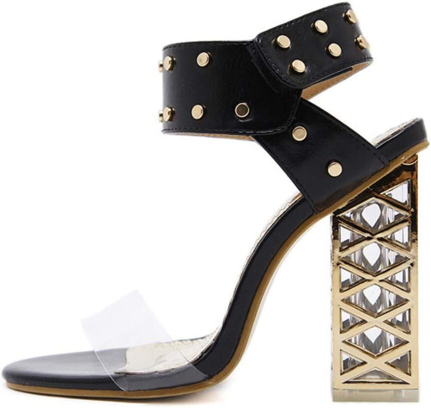 JQfashion Women's High-Heeled Sandals Spring and Summer Roman shoes Crystal Heel Open Toe Thick High Rivet Transparent