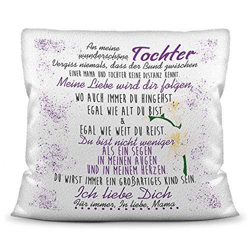 Familie-Kissen mit Spruch von der Mama für die Tochter - Kissenbezug inklusive Kissen/Verwandte/Geschenk-Idee/Liebling/Kinder/Kissen Weiss Flauschig