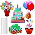 URATOT 5 Pack Colorful Happy Birthday Yard Sign with Stakes Cupcake Balloon Yard Sign Decorations Outdoor Lawn Decorations