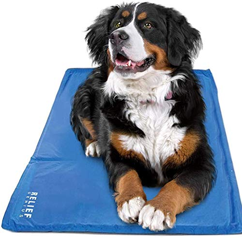 Relief Genius Cooling Mat For Dogs and Cats -Cooling pad or bed designed to keep your pet cool, with pressure-activated cold therapy geL, Great pet mat or bed alternative No freezer needed (Medium)