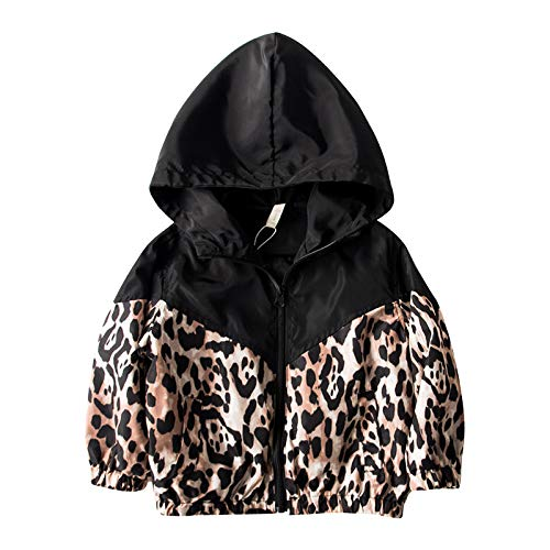 Mode Kinderen Baby Meisjes Jas Outfits Luipaard Print Lange Mouw Rits Hooded Jas Outfits 1-7Y