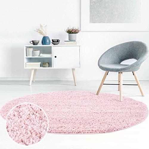 Carpet City ayshaggy Shaggy Teppich Hochflor Langflor Einfarbig Uni Rosa Weich Flauschig Wohnzimmer, Größe: 160 x 160 cm Rund, 160 cm x 160 cm