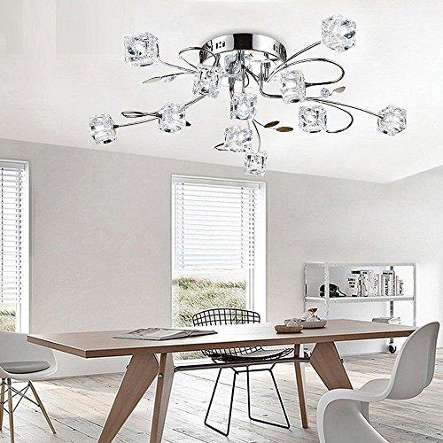 IJsblokjes bloemen en metaal chroom bladeren hanglamp voor de woonkamer eetkamer werkkamer kroonluchter modern elegante LED plafondlamp kristallen gloeilamp inbegrepen, D65 cm