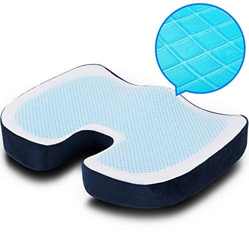 POOTACK Cojín de Gel, Cojín de Espuma Memoria para Sentarse, Technologico Material con Alta Elasticidad para Alivio del Dolor Coxis,hemorroides, Portátil Cojín para Silla, Oficina, Coche - Azul