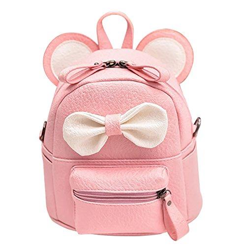 ABage Girls Mini Backpack Purse Cute Lightweight PU Leather Travel Daypacks, Pink2