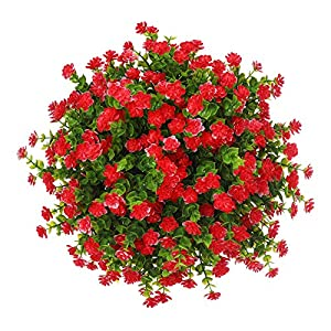 Momkids 6 Pcs Artificial Plants Flowers Outdoor Uv Resistant Fake Plants Plastic Greenery Shrubs Hanging Planter for Home Kitchen Balcony Patio Garden Decor(Red)