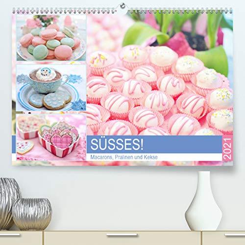Süsses! Macarons, Pralinen und Kekse (Premium, hochwertiger DIN A2 Wandkalender 2021, Kunstdruck in Hochglanz)