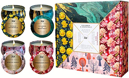 Aromatherapy Candles Gifts for Women-Scented Candles-Soy Wax 140 Hour Burn time-Cucumber + Grapefruit, Roman Chamomile, Pomegranate Noir, Winter Forest (Set of 4 Seasons 6 oz Tin Candles)