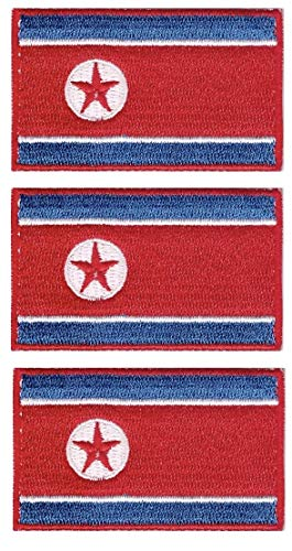 Tanto Badges Pack van 3 x Vlag van Noord-Korea DPRK Geborduurd naaien op Iron on Patch Elke 65mm x 40mm