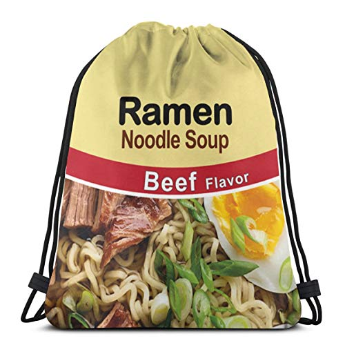 Print Drawstring Backpack,Ramen Noodle Soup Beef Flavor Sackpack String Bag Cinch Water Resistant Nylon Beach Bag for Gym Shopping Sport Yoga