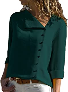 Womens Long Sleeve Button Detail Loose Fit Chiffon Blouse Solid Tops Shirt