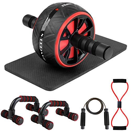 Fansport Bauchroller AB Roller,6 In 1 Fitness Bauchtrainer Set mit Rutschfester/Springseil,Bauchroller Geräte Bauchmuskeltraining und Muskelaufbau fürAnfänger und FortgeschritTene