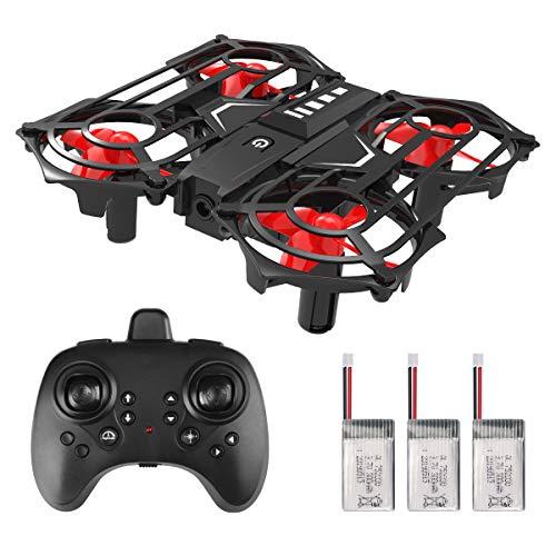 Funkprofi Mini Drohne mit Kamera für Kinder, RC Drohne Quadrocopter Mini Helikopter mit Höhenlage, Headless-Modus, 3D-Flip, Geschwindigkeitsanpassung(3 Batterien)