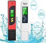 VISNAR Testeur pH Mètre Électronique, TDS&EC Mètre Température, 4 en 1 Testeur de Qualité de l'eau avec Écran LCD, Auto-Calibration, Test pour Piscine, Aquarium, Laboratoire(Rouge et Blanc)