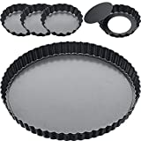 9 Inch and 4 Inch 5 Pack Tart Pan Removable Bottom Quiche Pan Non-Stick Pie Tart Baking Di...