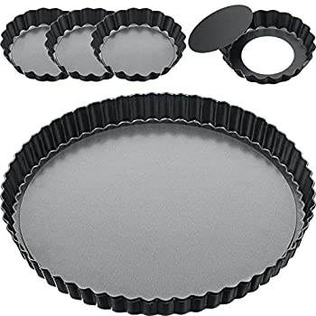9 Inch and 4 Inch 5 Pack Tart Pan Removable Bottom Quiche Pan Non-Stick Pie Tart Baking Dish Pan Carbon Steel Quiche Pan for Kitchen Cooking Baking  Grey