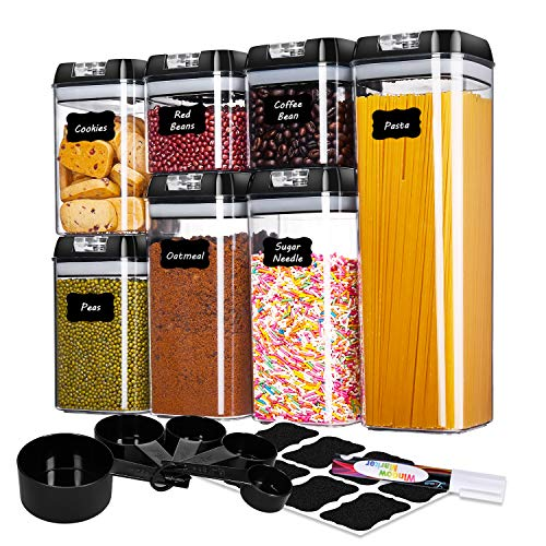 MEFAN Food Storage Containers Set of 7 Cereal Storage Containers Airtight Seal Pot - Kitchen Cabinet Organization with 5 Set Measuring Cups 24 Chalkboard labels Pen Black