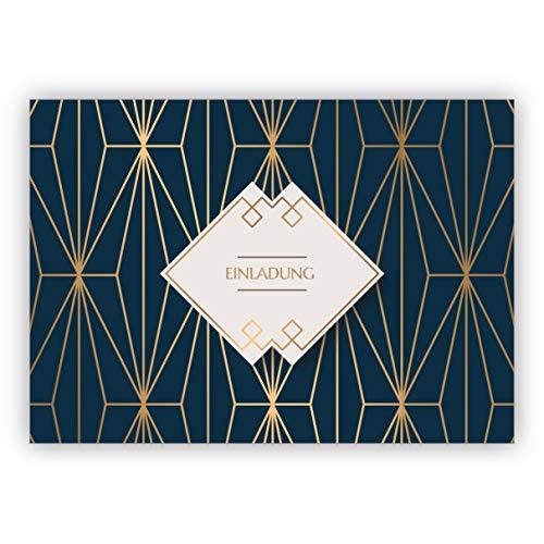 Fijne Art Deco universele uitnodigingskaart met gouden look in blauw voor verjaardag, eten, bruiloft, confirmatie: uitnodiging • in set met enveloppen om vrienden en familie uit te nodigen 1 Grußkarte