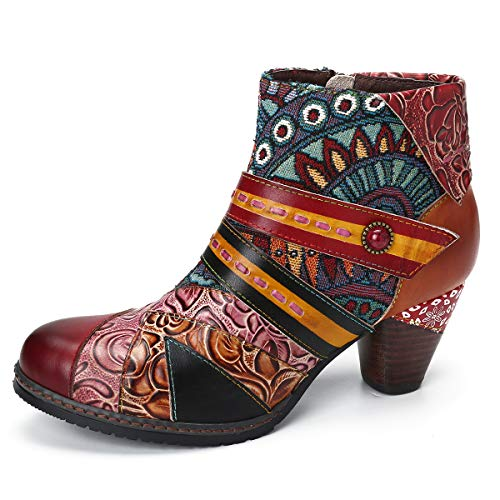 gracosy Damen Ankle Boots, Kurzschaft Stiefel High-Top Classic Lederstiefel Leather Boots Frau Zipper Handmade Chukka Lederschuhe