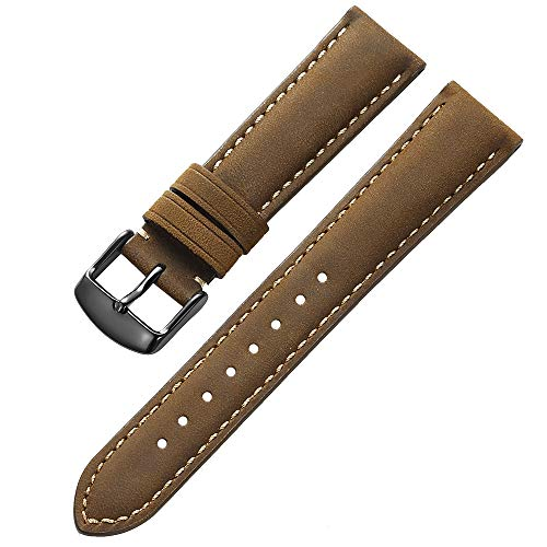 iStrap Genuine Calfskin Leather Watch Band 20mm Padded Strap Steel Spring Bar Buckle Super Soft for Men and Women (Three Color Choose)