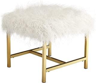 Ashley Furniture Signature Design - Elissa Accent Stool - Contemporary - White Fax Fur - Gold Metal Legs (Renewed)