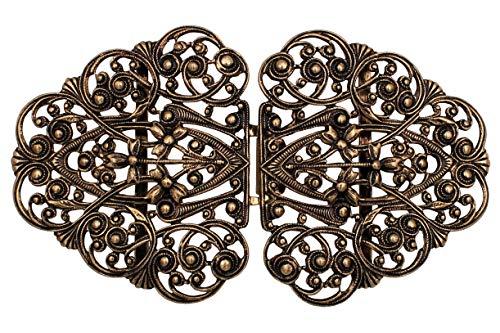 Hartmann-knopen betoverend filigraan goud antiek klederdracht schorten dirndl gesp sluiting haken metaal 90 mm x 50 mm, Made in Germany, (1 stuks)
