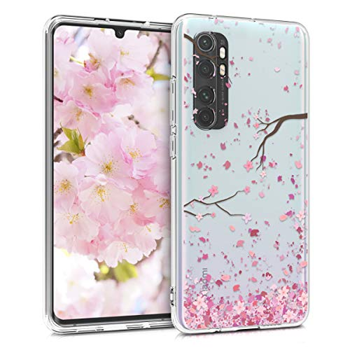 kwmobile Hülle kompatibel mit Xiaomi Mi Note 10 Lite - Hülle Silikon transparent Kirschblütenblätter Rosa Dunkelbraun Transparent