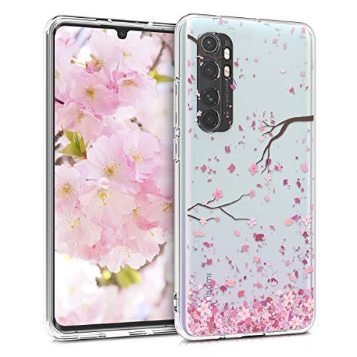 kwmobile Funda Compatible con Xiaomi Mi Note 10 Lite - Carcasa de TPU y Flores Cerezo cayendo en Rosa Claro/marrón Oscuro/Transparente