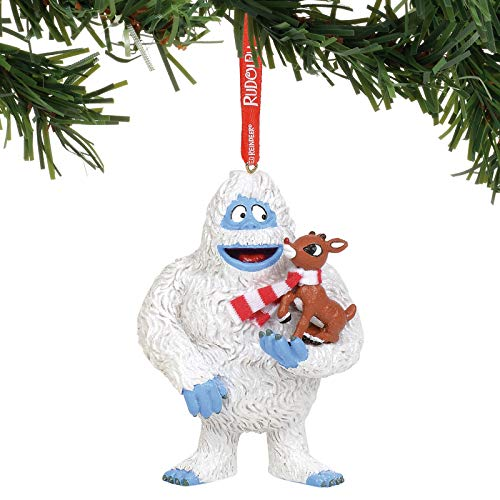 Department 56 Rudolph The Red-Nosed Reindeer with Bumble Hanging Ornament, 4 Inch, Multicolor