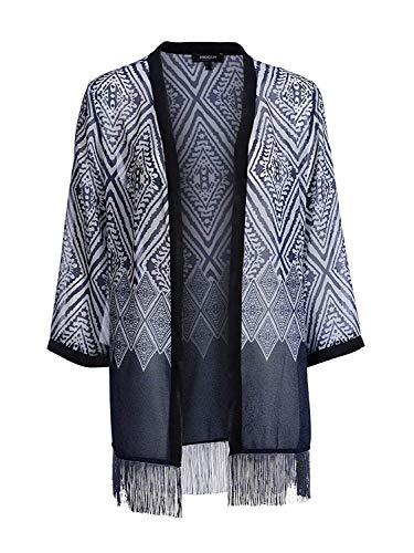 Mocca by J.L. Bademantel im Kimono Stil Blau Creme - Gr. 44