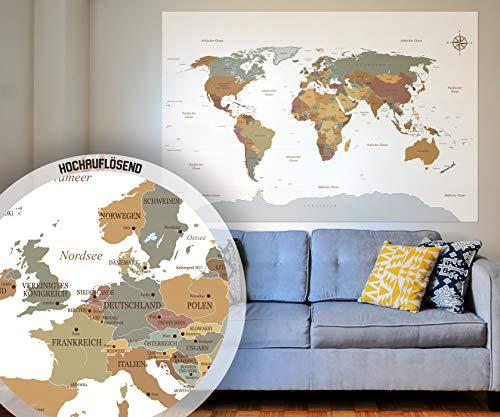 BilderKing Poster Weltkarte in weiß als XXL Wand-Poster in Deutsch 140x100 groß - Perfekte Großformat Deko für die Wand als Atlas Map Geograpfie Weltkugel mit Kompass