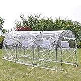 GOTOTOP Invernadero Transparente 450 x 190 x 200 cm, Estructura de Acero, Tunel Invernadero Huerto para Cultivo Plantas Tomates Verduras