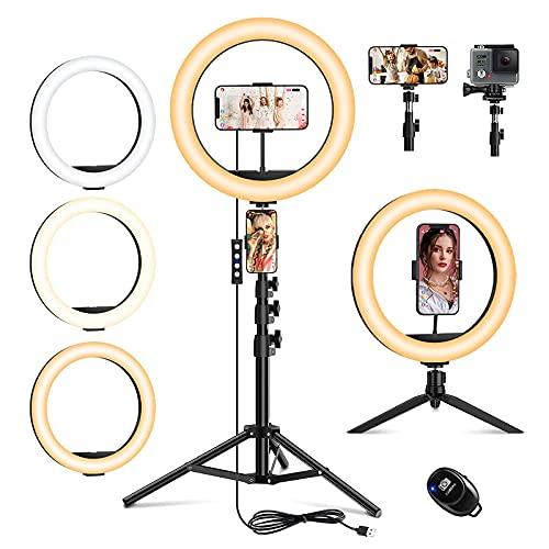 Ringlicht mit Stativ, 10.2 Zoll Selfie Ringleuchte Handy für Kamera, Dimmbare LED Tischringlicht für Videokonferenz YouTube Tik Tok Live-Streaming Portrait Vlog Fotografie Kompatibel mit Smartphone