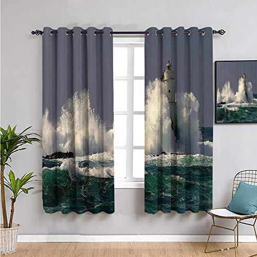 Pcglvie Colección de decoración de faro, cortina de ventana de color negro, 213,4 cm de largo, protección de privacidad, verde azulado, azul, gris