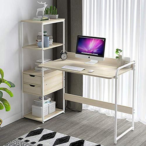 XHF Escritorio para Computadora con Estantes, Mesa para Computadora con Cajones, Mesa de Estudio de Escritura en Torre, Estación de Trabajo para Computadora Portátil Compacta para Oficina en Casa,un,